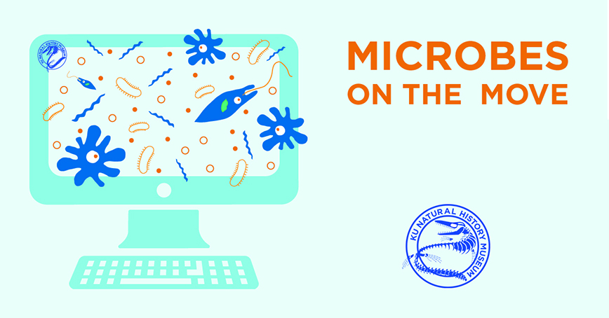 Microbes on the Move graphic with a computer with microbes coming out of it