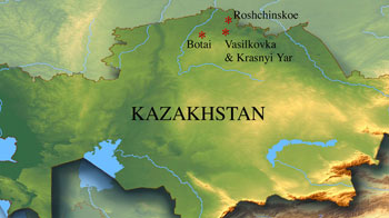 Map of Kazakhstan showing Botai culture sites (3100-3700 BCE)