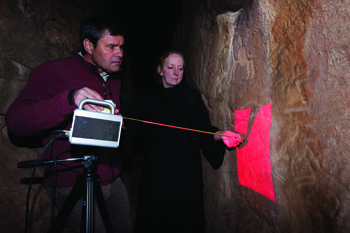 Chris Beard and Sandra Olsen with 3D laser scanner