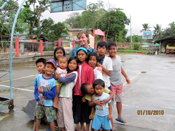 with a group of kids
