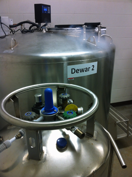 Dewar for storage of cryogenic samples.