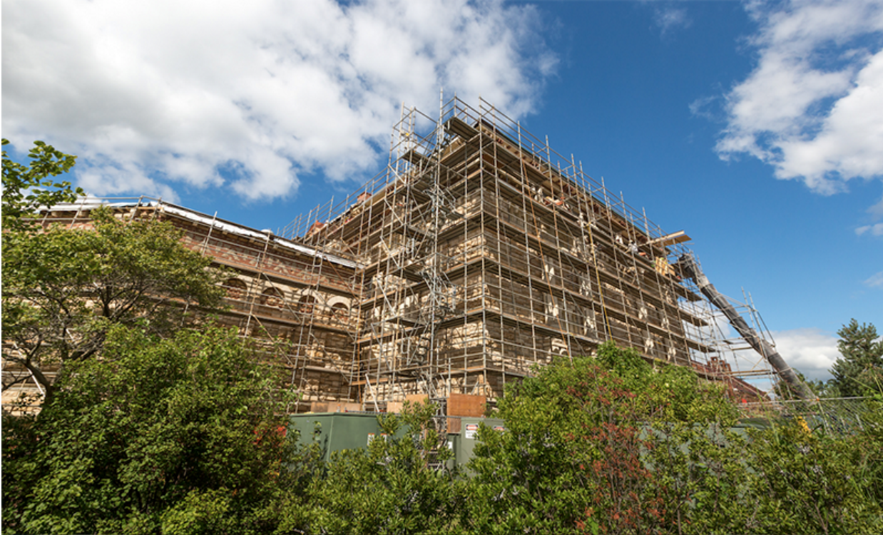Dyche Hall with scaffolding